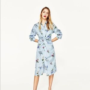 Zara floral striped Tunic shirt dress NWT Sz XS